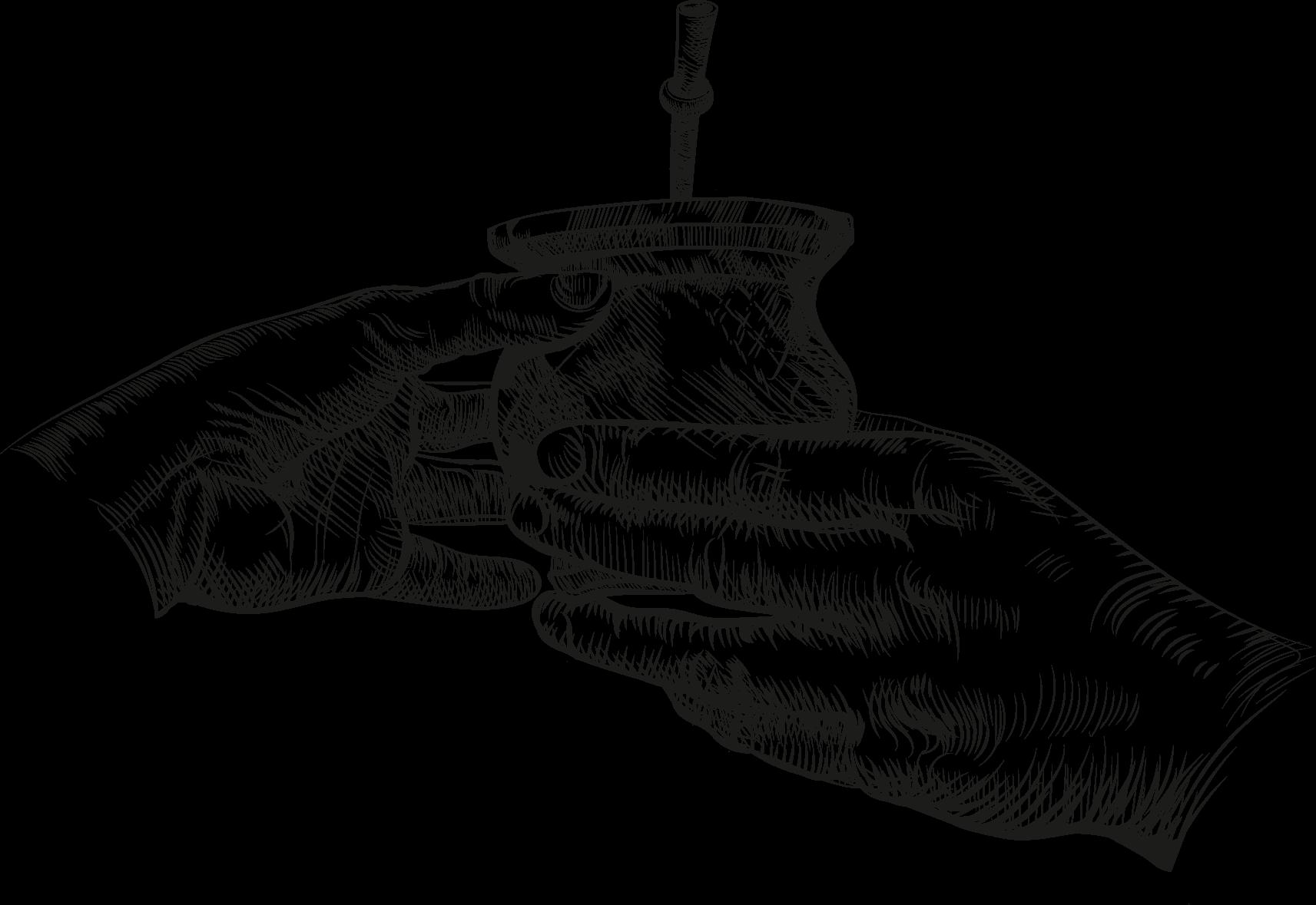 Zwei Hände teilen ein mate